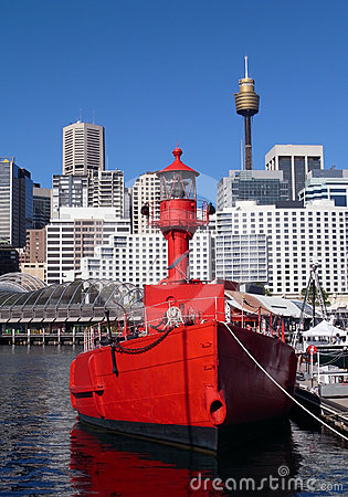 Red boat, light guide boat, Sydney, Australia