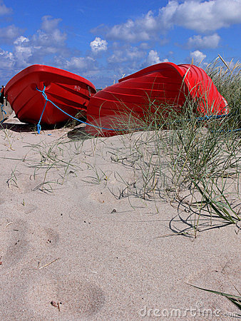 Red Boats on Beach #2