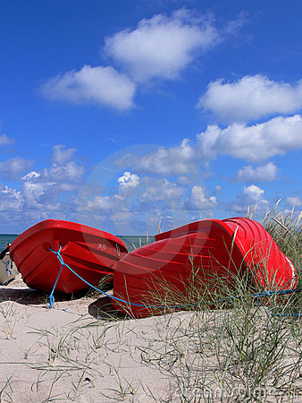 Red Boats on Beach