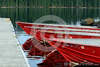 Red Boats at Dock