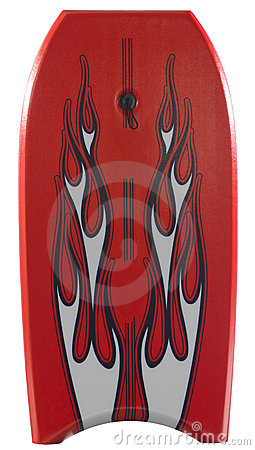 Red body board with flames