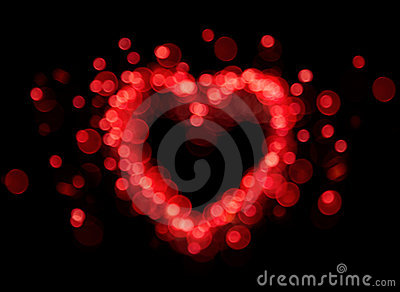 Red bokeh heart shape