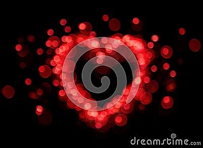 Red bokeh heart shape