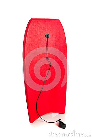 Red boogie board on white