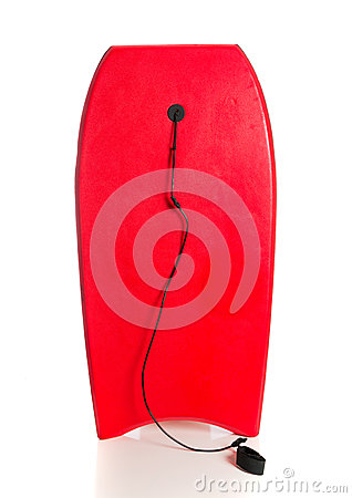Red boogie board on a white background