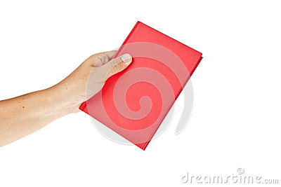 Red book with hand