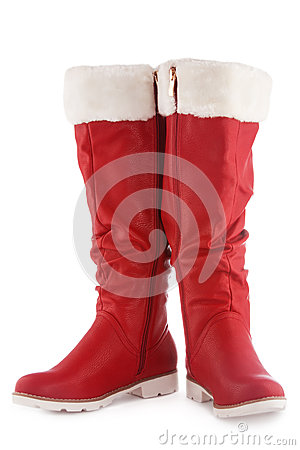 Red boots on a white
