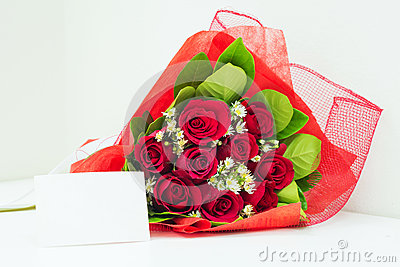 Red bouquet with card
