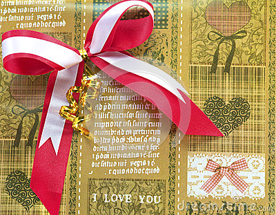 Red bow on brown Gift wrapping paper