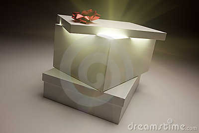 Red Bow Gift Box Lid Showing Very Bright Contents