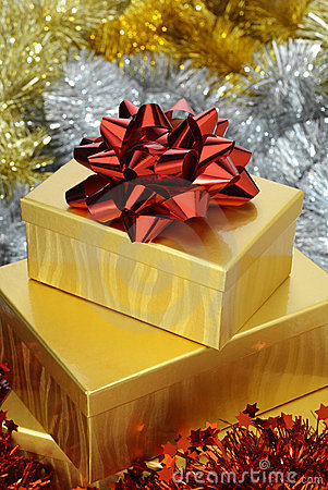 Red Bow on Gold Box
