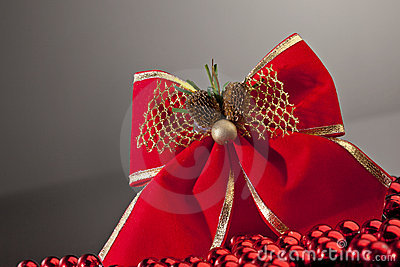 Red bow on gradient background