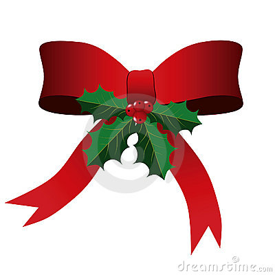 Red Bow with Holly Leaves Christmas Background