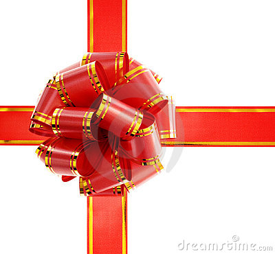 Free Red Bow Isolated On White Stock Image - 6456821