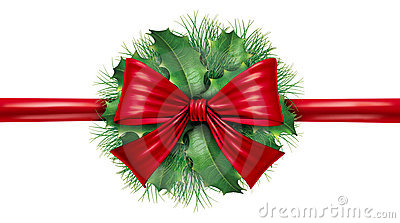 Red bow with pine border and circular decoration