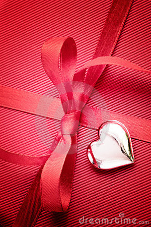 Red bow on present