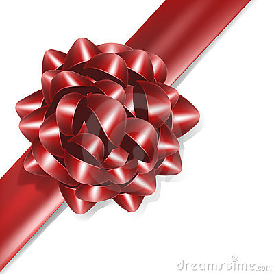 Red bow with red ribbon