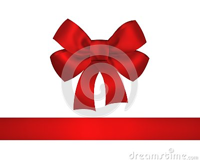 Red bow and ribbon isolated on