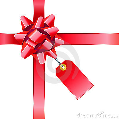 Red bow with tag