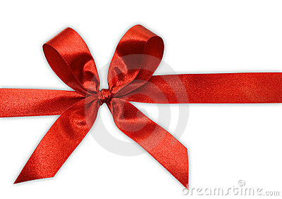 Red bow on a tape
