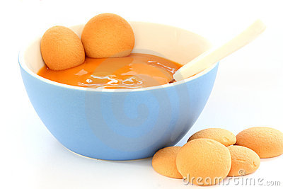 Red bowl with children fruit pap / mush
