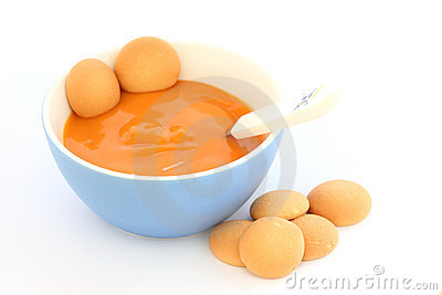 Red bowl with children fruit pap mush