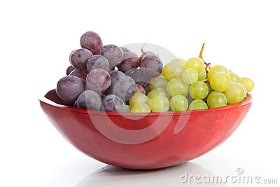 Red bowl with grapes
