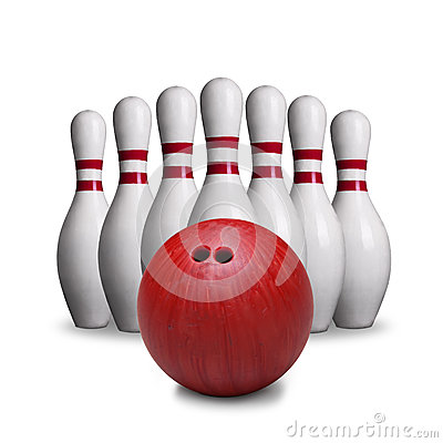 Free Red Bowling Ball And Pins Isolated On White Background Stock Image - 75912871