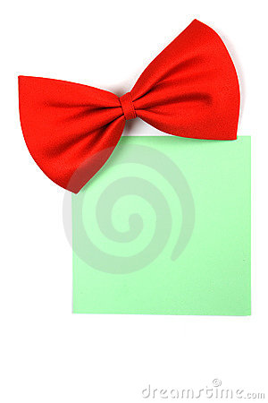 Red bowtie with paper note