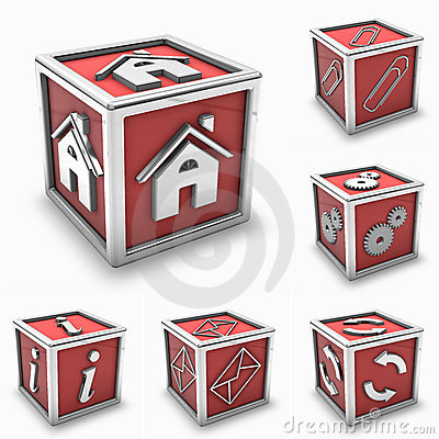 Red box icon set