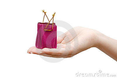 Red box under a jewel in a hand