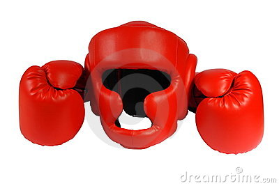 Handicap kitchen design - Red Boxing Gloves And Helmet On The White Background Isolated