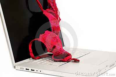 Red bra on laptop