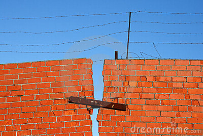 Red Brick broken Wall