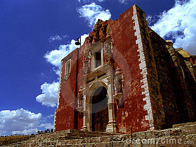 Red brick church in Mexico.