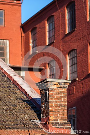 Free Red Brick Factory Chimney Royalty Free Stock Image - 106537406