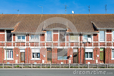 Red brick houses in France
