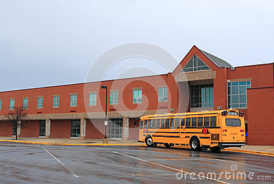 School Building with Bus