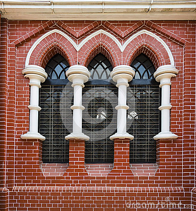 Free Red Brick Wall And Stained Glass Window In Holy Trinity Cathedral In Yangon, Myanmar, Burma Stock Photography - 53090792