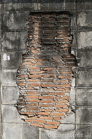 Red brick in wall cement