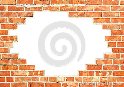 Red brick wall with gap