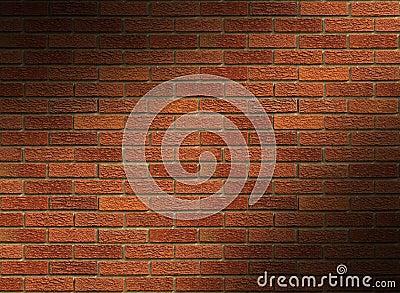 Red Brick Wall Lit Diagonally