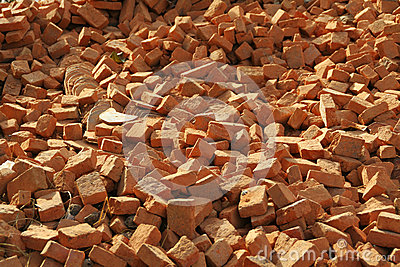 Red bricks pile
