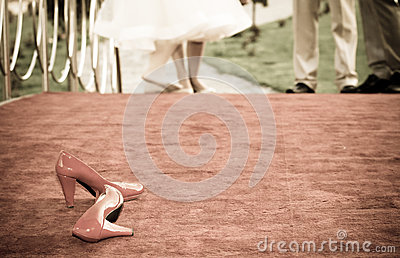 Red bridal shoes a