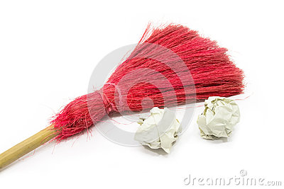 Red Broom on the White Background.