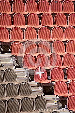 Red and brown seats