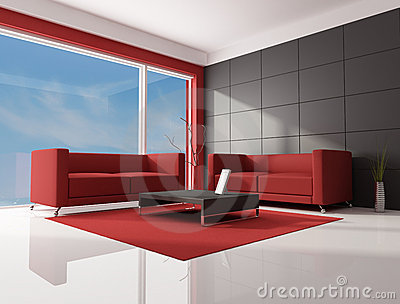 Red White Living Room. White Living Room