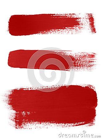 Red brush strokes on white background
