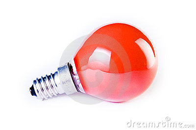 Red bulb on white background
