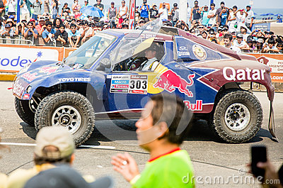 Red Bull car at Rally Dakar 2013 Editorial Stock Image